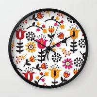 scandinavian Wall Clocks featuring Retro Scandinavian Flowers Pattern by totallyjamie