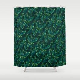 Fern leaves - green Shower Curtain