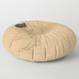 Egon Schiele Lovers Floor Pillow