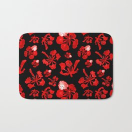 Striking Black Red and White Poinciana Print Bath Mat