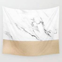 White Marble with Black and Copper Bronze Wall Tapestry
