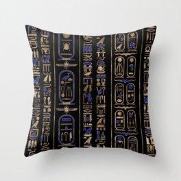 Egyptian hieroglyphs pattern Gold Lapis Lazuli #2 Throw Pillow