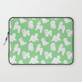 Bichon Frise Pattern (Green Background) Laptop Sleeve