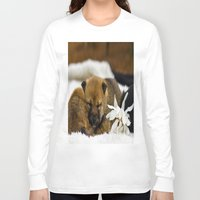 shiba inu Long Sleeve T-shirts featuring Red Shiba Inu Puppy by Blue Lightning Creative