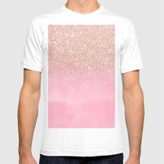 Modern rose gold glitter ombre hand painted pink watercolor White Mens Fitted Tee MEDIUM