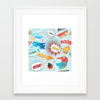 super heroes Framed Art Prints featuring Super Heroes by Petit Griffin