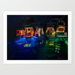 Boat Flotilla at Night at Octopus Island Art Print