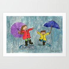 Puddle Jumping Kids Art Print