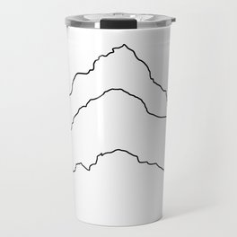 Tallest Mountains in the World B&W / Mt Everest K2 Kanchenjunga / Minimalist Line Drawing Art Print Travel Mug