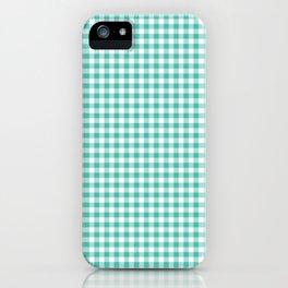Modern green white checker picnic stripes pattern iPhone Case
