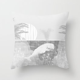 Tropical Black and White Vintage Whale Design Throw Pillow