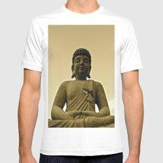 Buddha Prays Mens Fitted Tee White MEDIUM
