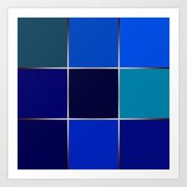 Cobalt , patchwork Art Print