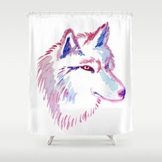 Wolf Watercolor Print Shower Curtain
