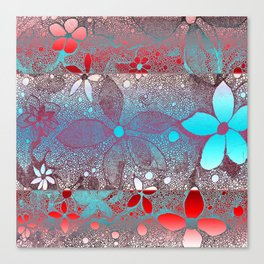 Flowers In Lace Red Blue Canvas Print