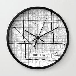 Phoenix Map, Arizona USA - Black & White Portrait Wall Clock