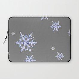DECORATIVE GREY WINTER WHITE SNOWFLAKES Laptop Sleeve