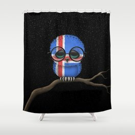 Baby Owl with Glasses and Icelandic Flag Shower Curtain