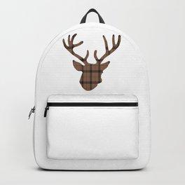 Plaid Deer Head: Dark Brown Backpack