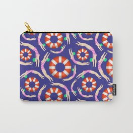 Summer Swimmers in Pink on Navy | Floats | Life Savers | pulps of wood Carry-All Pouch