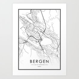 Bergen City Map Norway White and Black Art Print