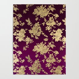 Chic faux gold burgundy ombre watercolor floral Poster