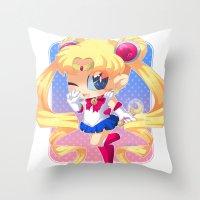 sailor moon Throw Pillows featuring Sailor Moon by Corpse Cutie