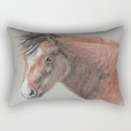 PONY Brown Horse portrait Pastel drawing Cute Foal Colt Baby Horse Rectangular Pillow