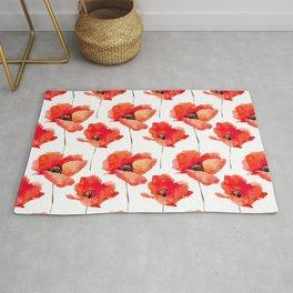 Modern red orange watercolor poppy flowers Rug