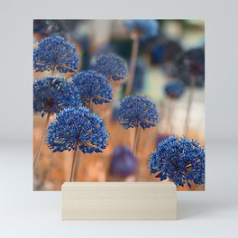 Blue ball flowers Mini Art Print