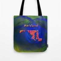 maryland Tote Bags featuring Maryland Map by Roger Wedegis