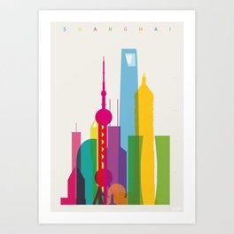 Shapes of Shanghai. Accurate to scale Art Print