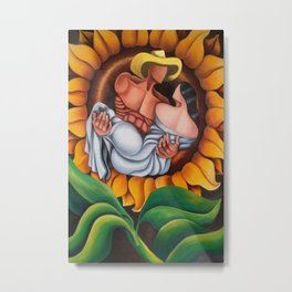 Lovers in sunflower. Cuban art by Miguez Metal Print