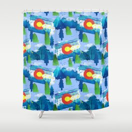 Watercolor Colorado mountains, trees and flag Light Blue Shower Curtain