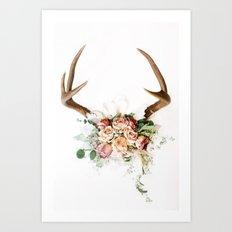 Floral Antlers V Art Print