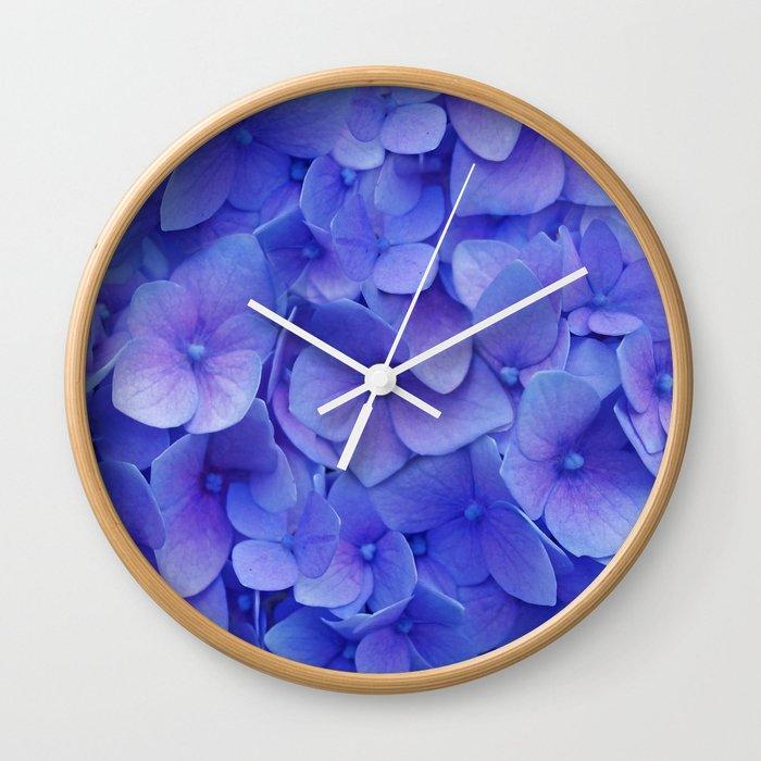 Hydrangea blue Wall Clock