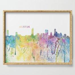 Austin Texas Skyline Impressionistic Splash Serving Tray