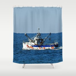 Fishing on the Sea 2 of 3 Port side view Shower Curtain