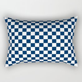 Checkered Blue and White Rectangular Pillow