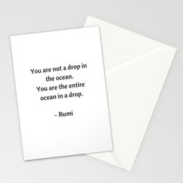 Rumi Inspirational Quotes - You are not a drop in the ocean Stationery Cards