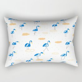 Blue Summer Flamingos Rectangular Pillow