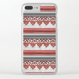 Coral Pink Wrought Iron Trim Clear iPhone Case