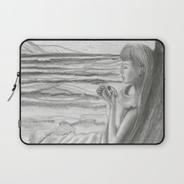 A Cool, Quieting Thought (Girl by tree on the beach) Laptop Sleeve