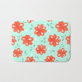 Cheerful Red Flowers Pattern Bath Mat