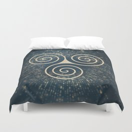 Triskelion Golden Three Spiral Celtic Symbol Duvet Cover