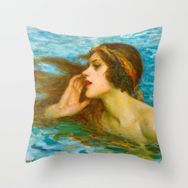 A Little Sea Maiden - William Henry Margetston Throw Pillow