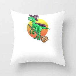 Witch Raptor, It's Show Time Funny Halloween Horror Scary Throw Pillow