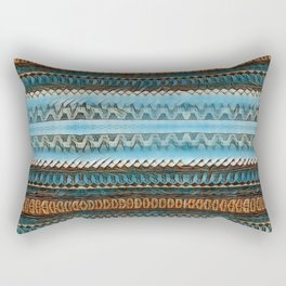 Candle Arches: Jagged/Sharp -  Blue Orange Brown Rectangular Pillow