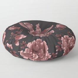 Phoenix Bird with peony flowers Floor Pillow