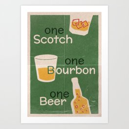 Lindy Lyrics - One Scotch, One Bourbon, One Beer Art Print